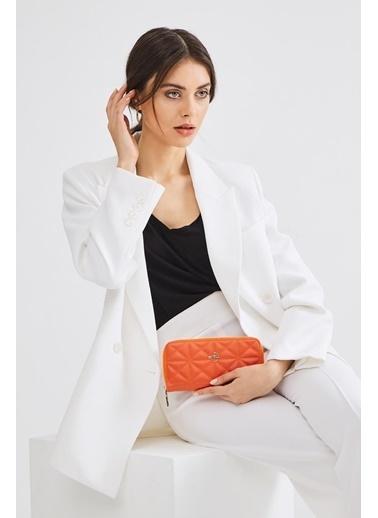 Deri Company Deri Company (71Tr) 213016 Üçgen Desen Logolu Kadın Basic Cüzdan Oranj